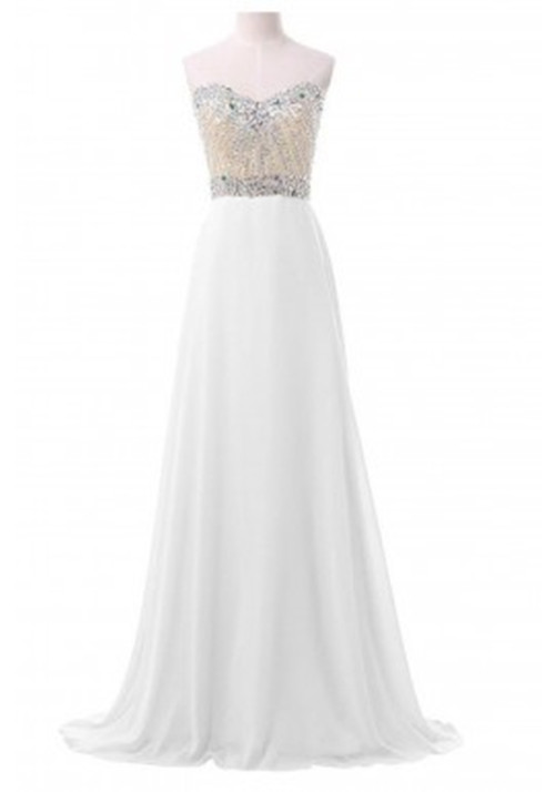 Elegant White Prom Dresses,Long Chiffon Prom Dresses,Strapless Prom ...