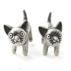 Adorable Kitty Cat Animal Stud Earrings in Silver Fake Gauge Earrings