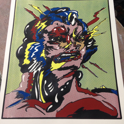 Angry hed, full color screen print, 22x15