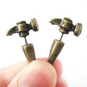 3D Fake Gauge Realistic Hammer Tool Stud Earrings in Bronze