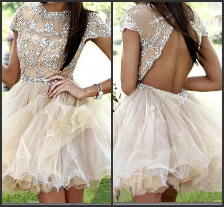 short prom dress,champagne prom dress,backless prom dress,cap sleeve ...