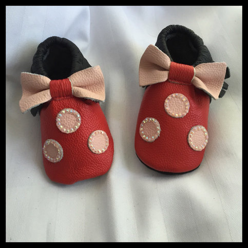 Red Black Light Pink Leather Bow Polka Dots Moccasins