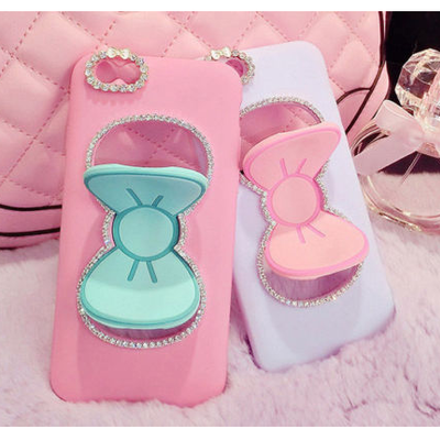 Iphone 6 plus, 6, 5/5s - twinkling rhinestone bow stand case in assorted colors
