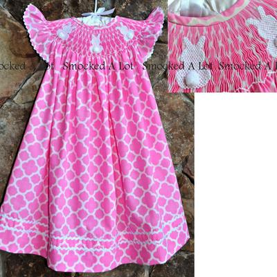 Easter smocked bunny pink quatrefoil bishop dress