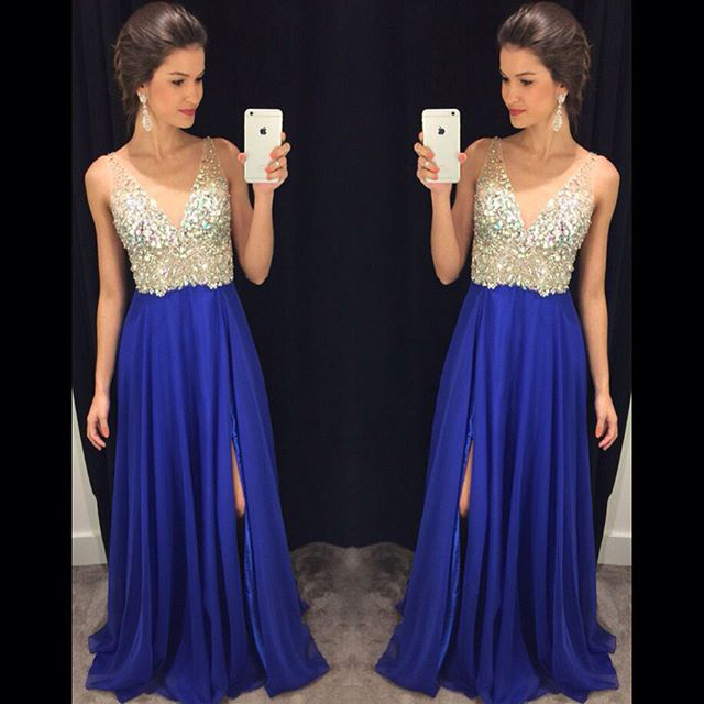 Royal Blue V Neck Long Prom Dresses Off the Shoulder Front Split ...