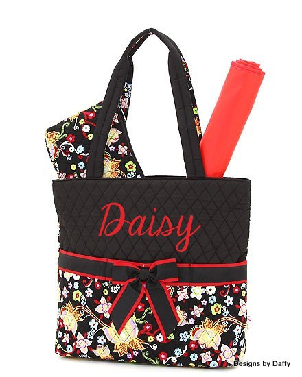 Flower Pattern Quilted Personalized Diaper Bag From Designs By Daffy