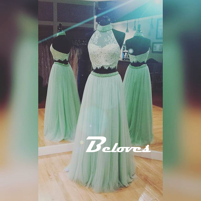 53f9948fda0 Mint Green High Neck Beaded Two Piece Prom Dress With Pleated Tulle Skirt