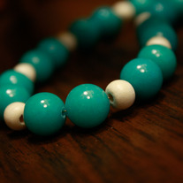 Turquoise and Bleached Wood Beaded Necklace