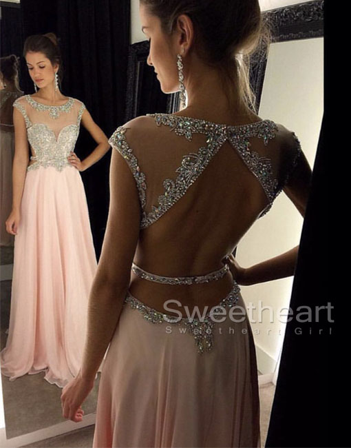 Sweetheart Girl | Pink Chiffon Sequin Long Prom Dress, Formal ...