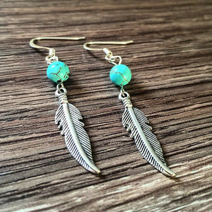 Feather Earrings with Turquoise Bead
