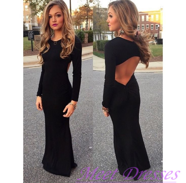 New Style Black Prom Dresses Elegant Mermaid Prom Gown Simple Prom