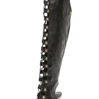 Rodarte black embossed over the knee lace up boot