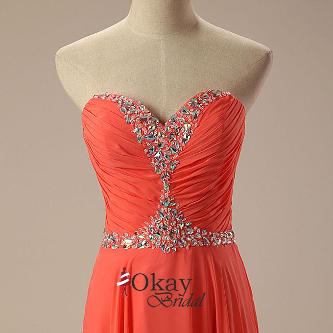 Burnt Orange Prom DressChiffon DressLong DressSweetheart Dress