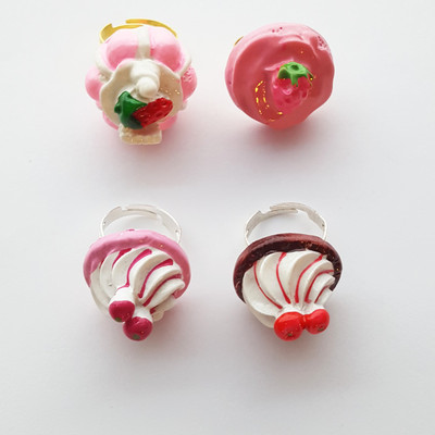 Pink red strawberry berry frosting whip cream adjustable ring set pastel goth kawaii harajuku fashion