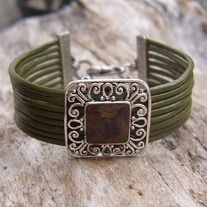 Green Leather Silver Cuff Bracelet
