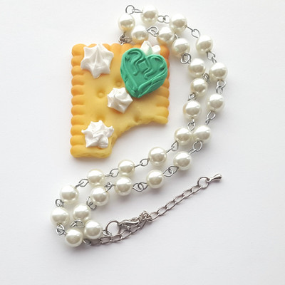 Pearl resin mint heart cream biscuit cookie frosting short necklace kawaii harajuku fashion