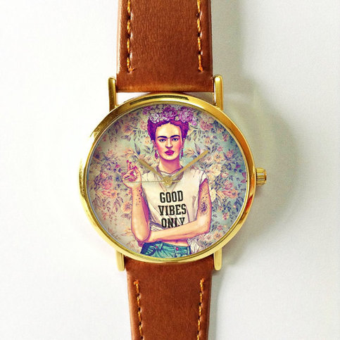 Frida kahlo good vibes only watch vintage style leather for Nice watch for boyfriend