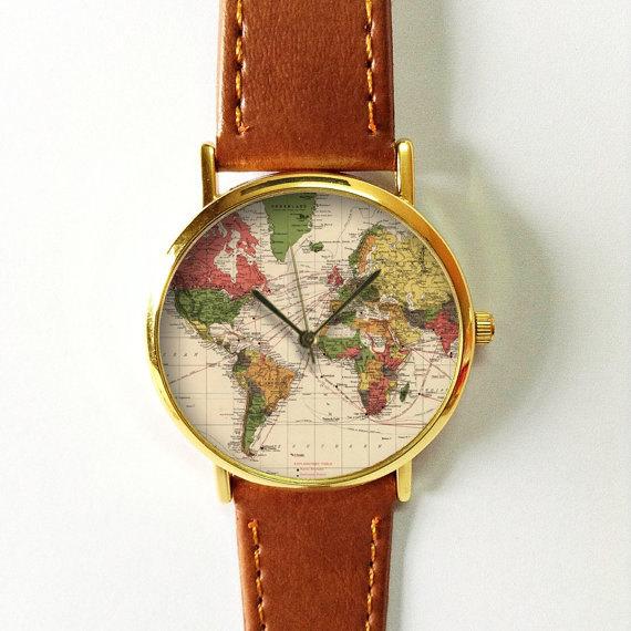 Map Watch, Leather Watch, Women Watches, Boyfriend Watch, World Map ...