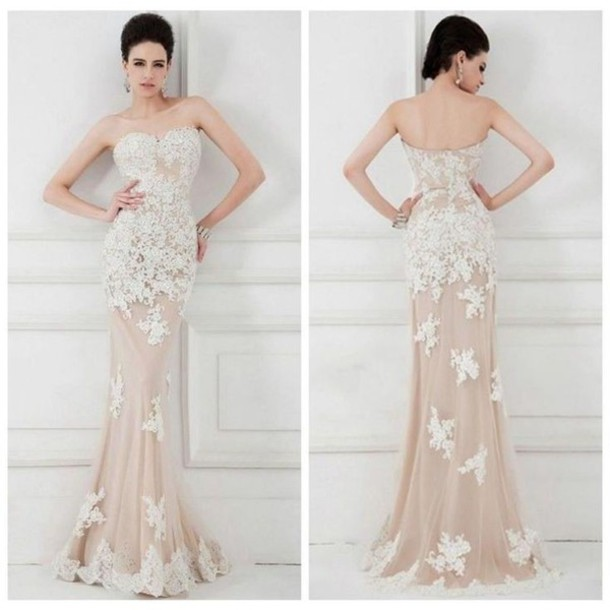 Lace prom dresses, Champagne mermaid prom dresses, dresses for prom ...