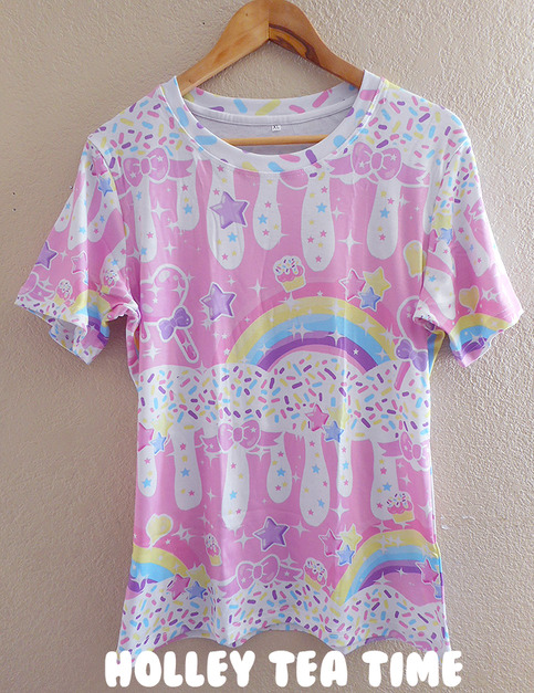 Rainbow sweets pink all over print t shirt made to order for Made to order shirts online