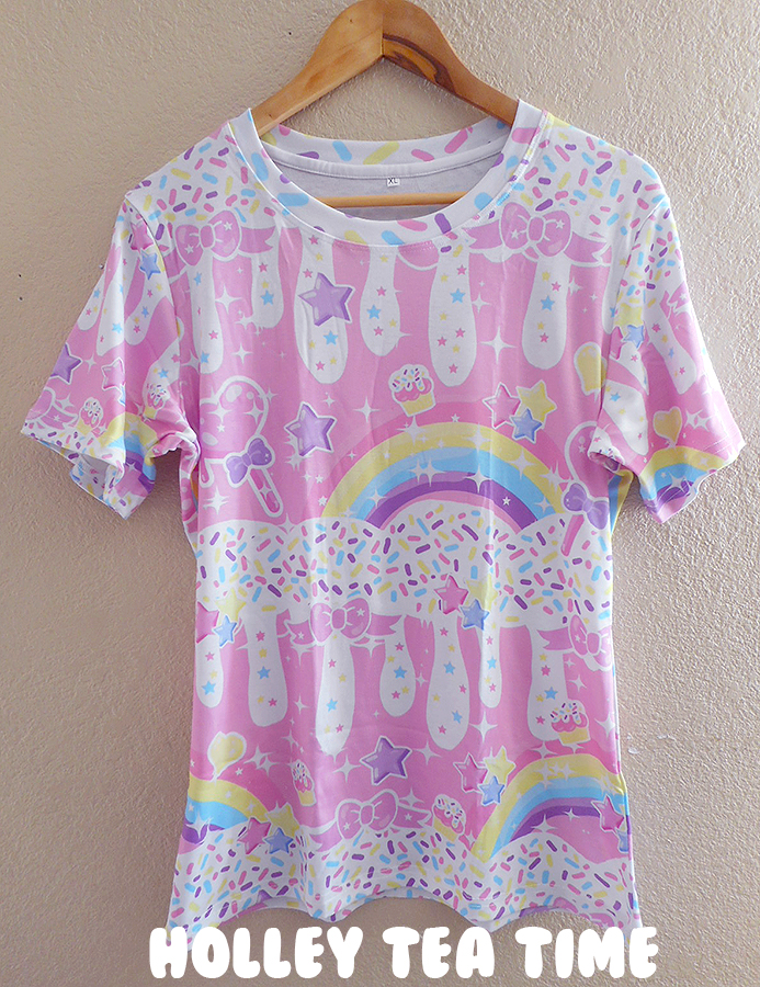 Rainbow Sweets Pink All Over Print T Shirt Made To Order