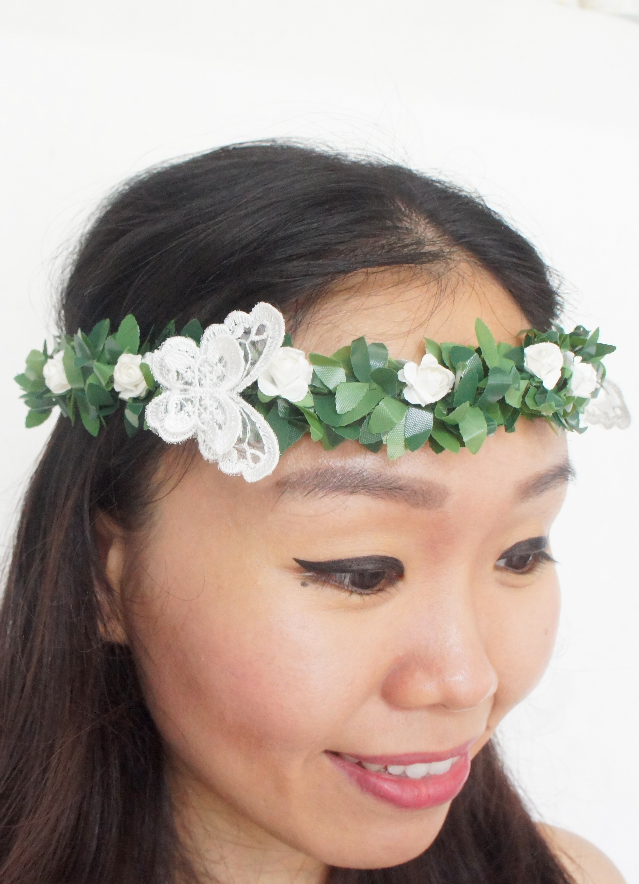 White Flower Crown Roses Flower Crown White Wedding Butterflies