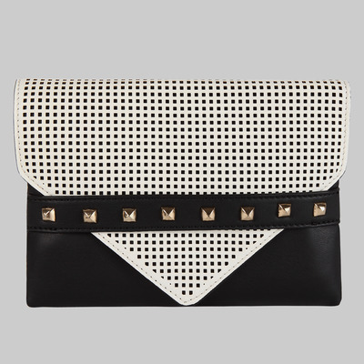 Melie bianco perforated fold over clutch (black/white)