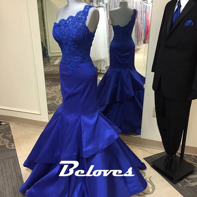 royal blue one shoulder taffeta mermaid layered skirt prom