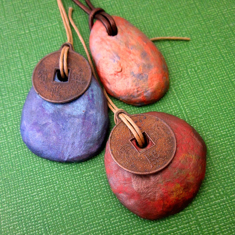 Muse rustic iridescent copper colored paper mache pendant online handmade craft supplies jewelry paper mache pendant aloadofball Gallery