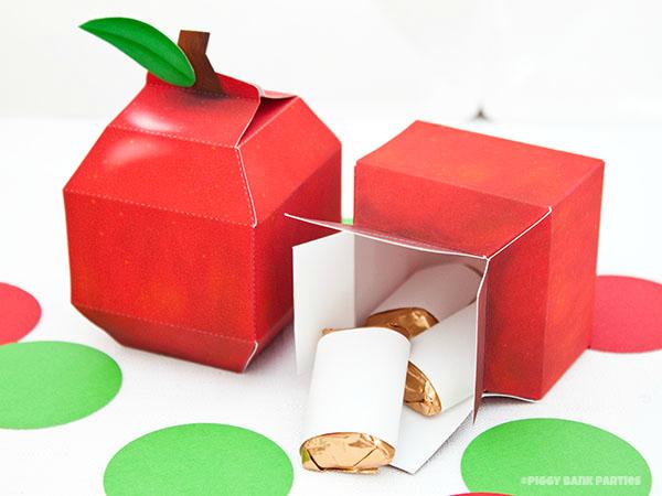 Apple favor box diy printable pdf piggy bank parties for Diy apple boxes