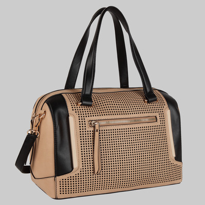 Alma perforated double handle satchel (nude) by melie bianco