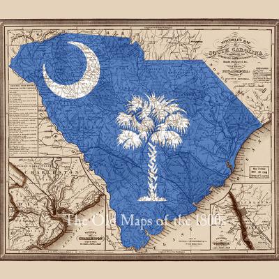 Vintage South Carolina Map.Mitchell S South Carolina In 1849 W Logo Overlay State Map