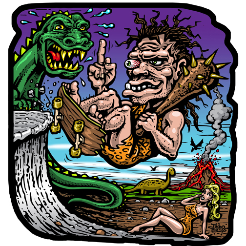 Dawn Of Grind Full Color Shaped Vinyl Sticker Jimbo Phillips - Full color vinyl stickers