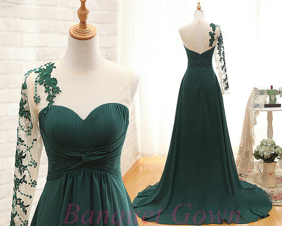 2016 Charming One Shoulder Dark Green Prom Dresses lace Appliques ...