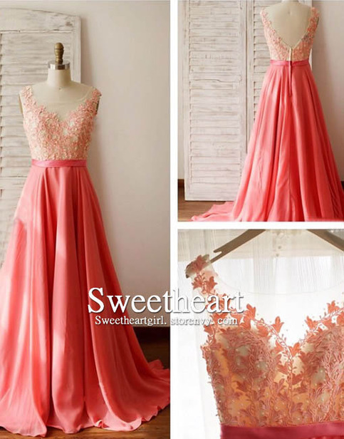 Sweetheart girl a line round neck lace long prom dress for teens