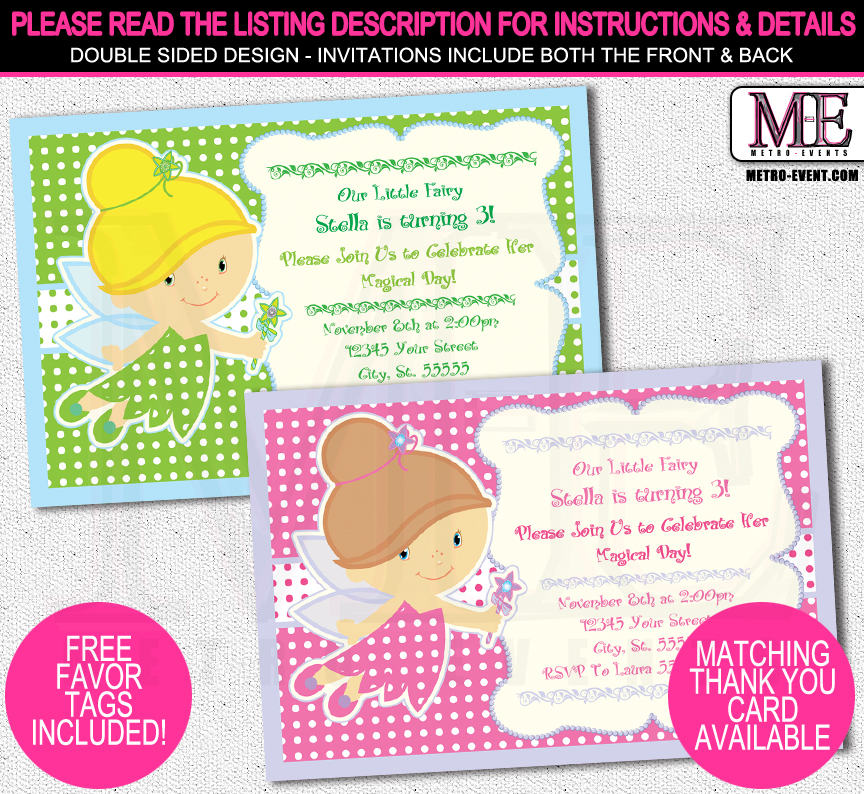 Baby Fairy Party Invitation | Metro-Events Party Supplies | Online ...