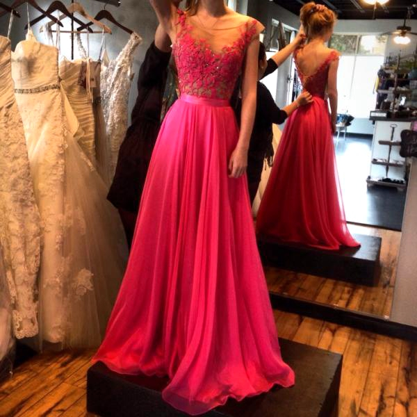 Formal Dress | Red lace long prom dresses,A-line rose red chiffon ...