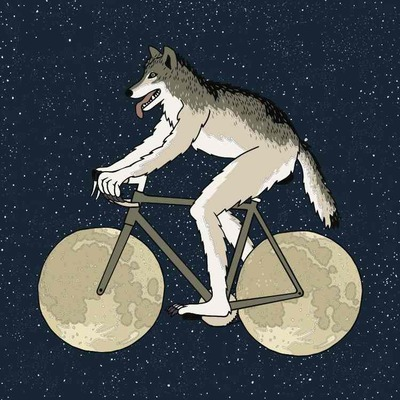Werewolf riding bike, 5x5 print