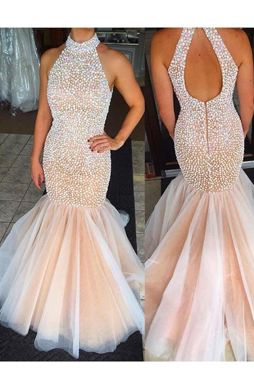 Blush Champagne Colored Prom Dresses