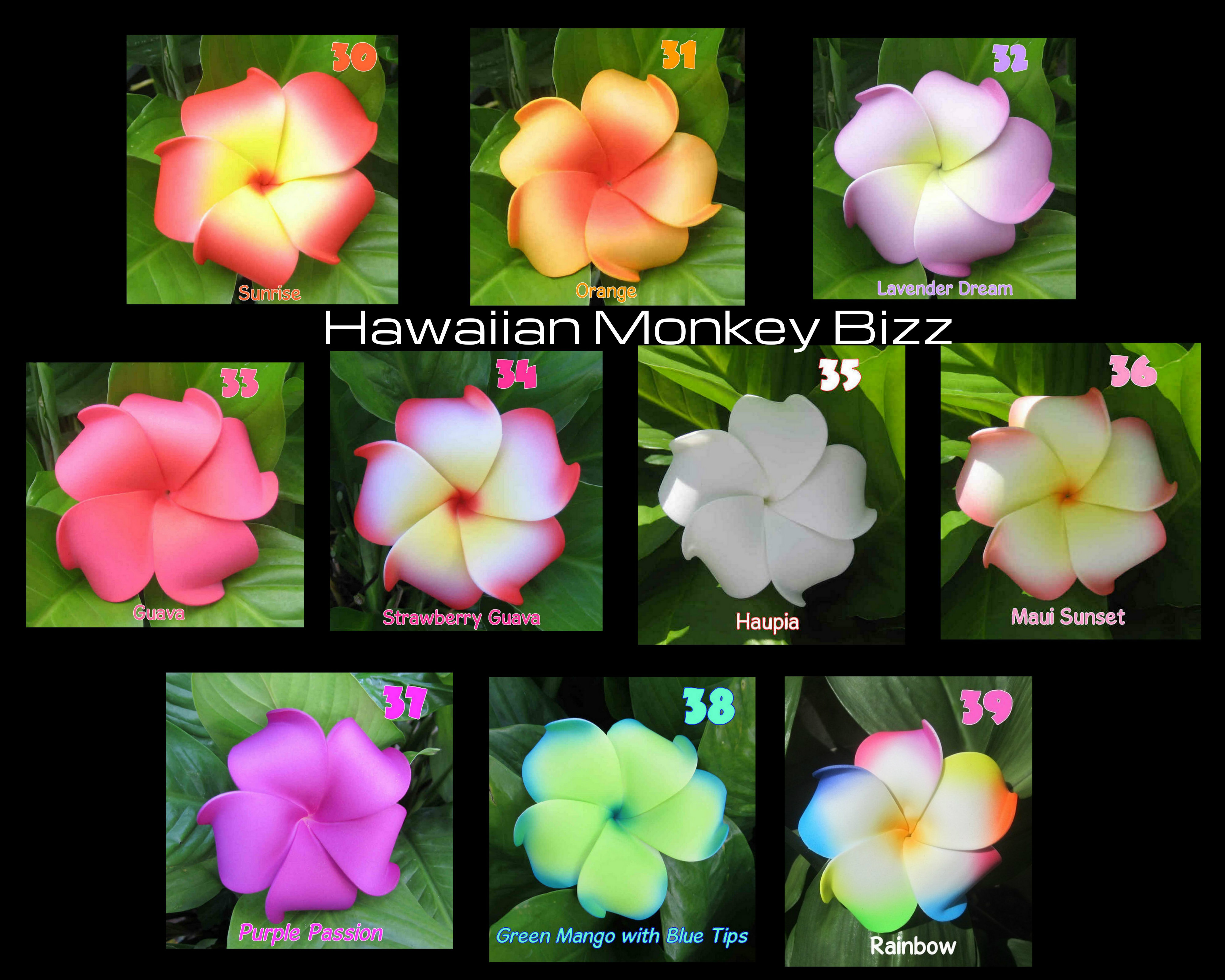 Curly Plumeria Foam Hair Picks Or Clips Your Choice Of 10