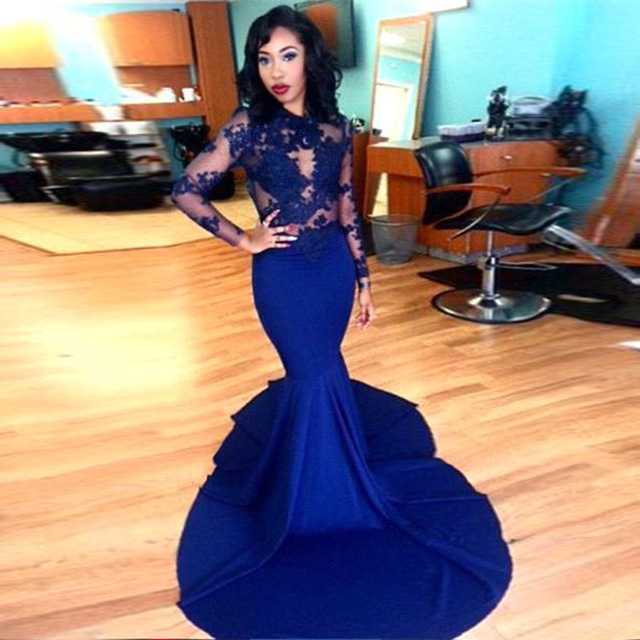 Royal blue prom dress, mermaid prom dress, sexy prom dress, lace ...