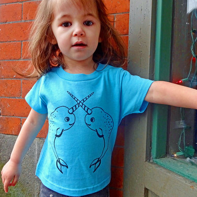 Narwhal shirt, gift for kids, toddler shirt, kids t shirt, narwhal tee, graphic tee, toddler tee, blue tee, girls or boys shirt narwhal gift