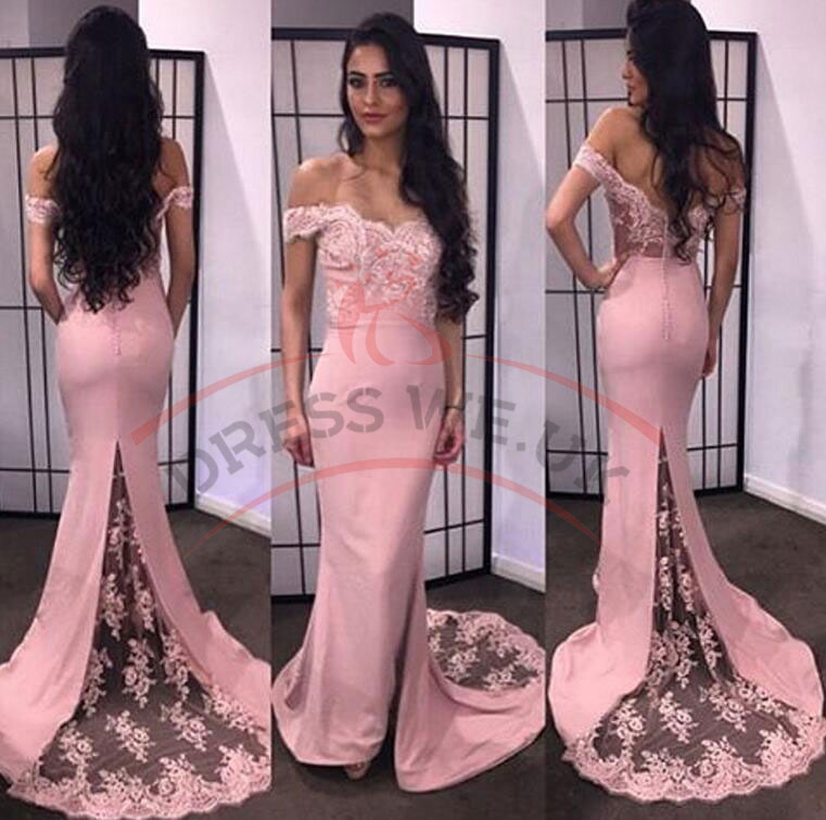 Elegant Sweetheart Prom Dresses,Pink Tight Dresses,Off-The-Shoulder ...