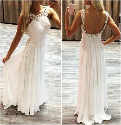 White prom dress,Elegant Sleeveless prom dresses,Beading Halter prom ...
