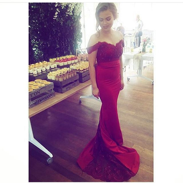 373a1669b689 Wine Red Off The Shoulder Mermaid Formal Gown With Lace Appliques Bodice