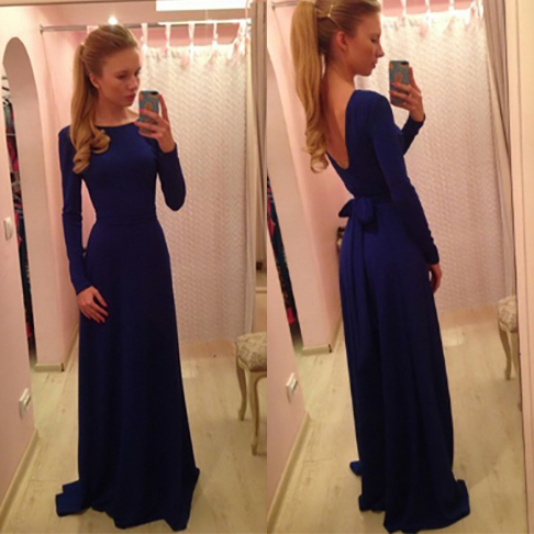 Long Sleeve Backless Prom Dresses With Self Tile Ribbon Navy Blue
