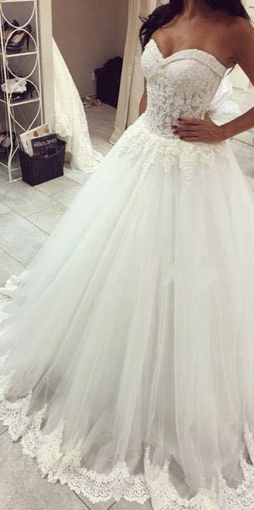 Strapless Wedding Dresses,Sweetheart Neck Bride Gown,Princess Lace ...
