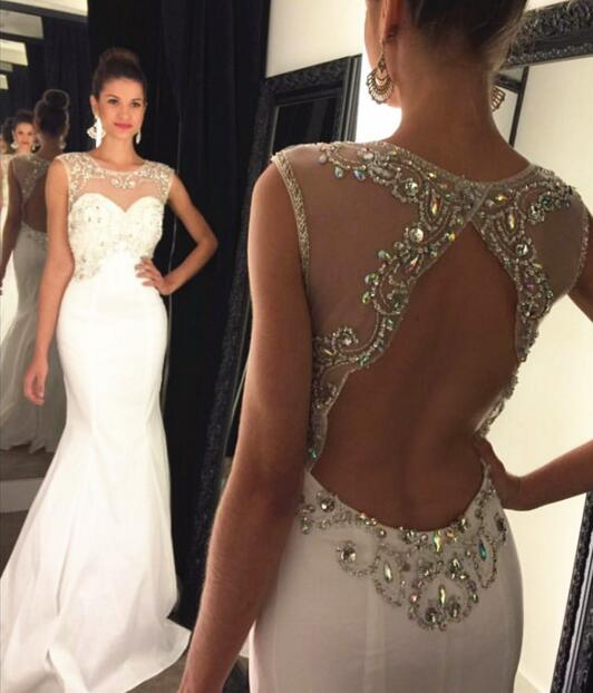 Scoop Heavy Beaded Cheap White Evening Dresses, Woman Evening ...