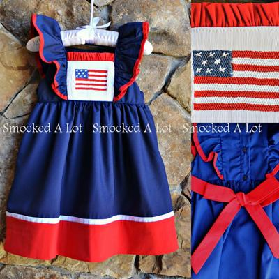 """stars and stripes"" smocked patriotic dress- ships mid-may"