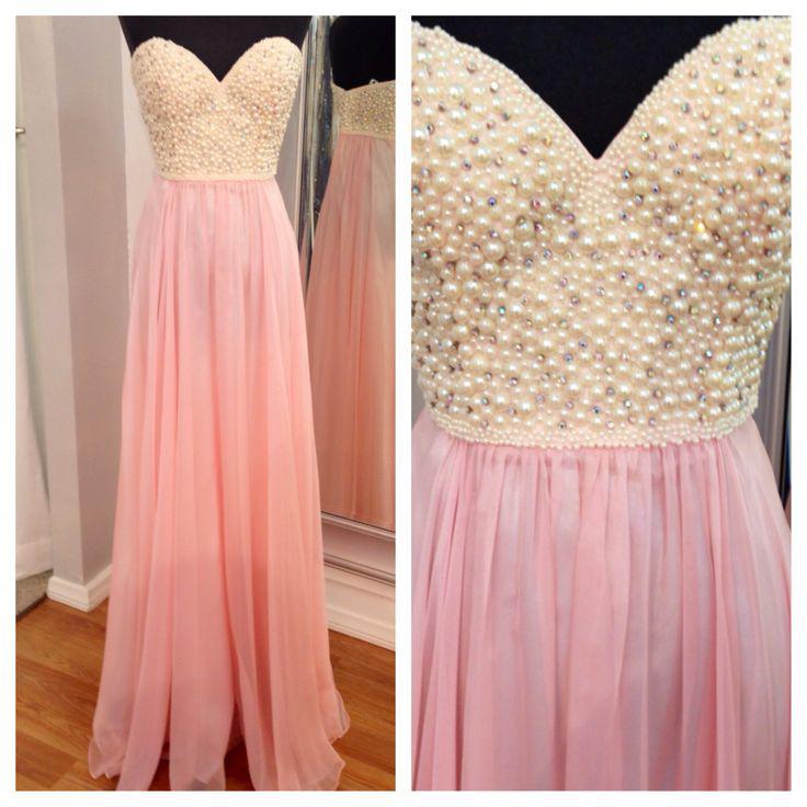 Sweetheart A Line Long Chiffon Pearls Pink Evening Dress, Formal ...